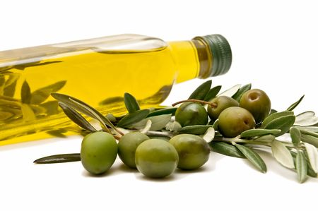 cooking oil: olives and olive oil Stock Photo