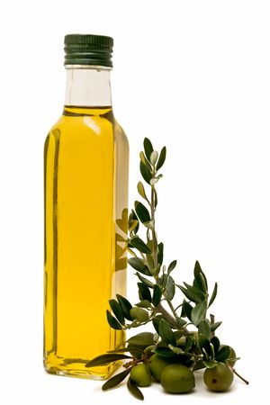 Olive oil bottle decorated with olive branches Stock Photo
