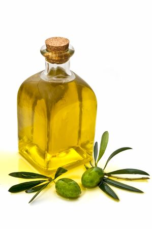 oliva: oil jug decorated with two olives Stock Photo