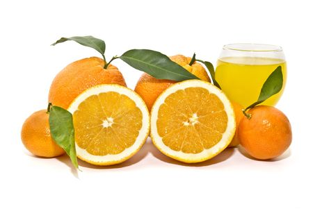 composition of oranges and juice photo