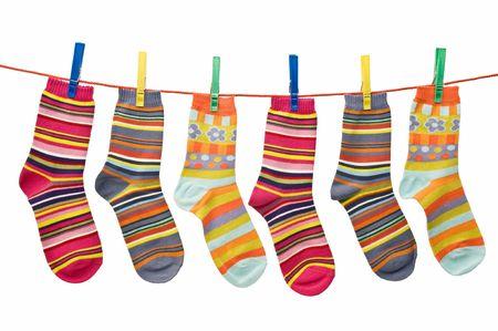calcetines: l�nea de lavado de calcetines  Foto de archivo