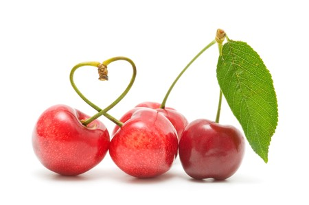 cherry on white background Stock Photo - 7523700
