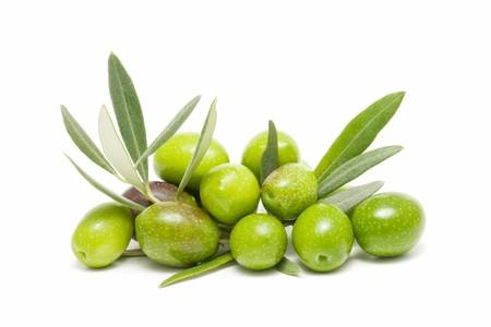 foglie ulivo: olive verdi  Archivio Fotografico