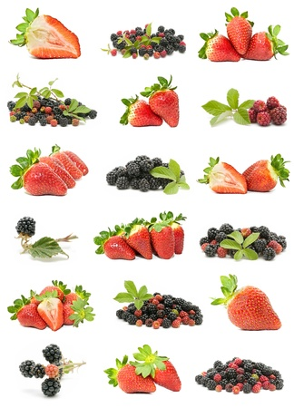 Collection of strawberries and blackberries