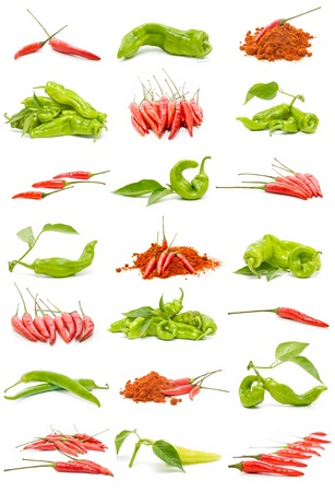 foodie: collection of chillies and peppers Stock Photo