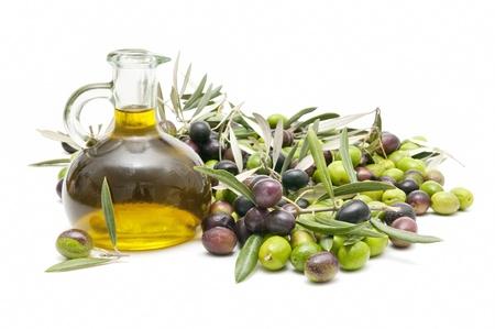 aceite de oliva: aceite de oliva y oilves Foto de archivo