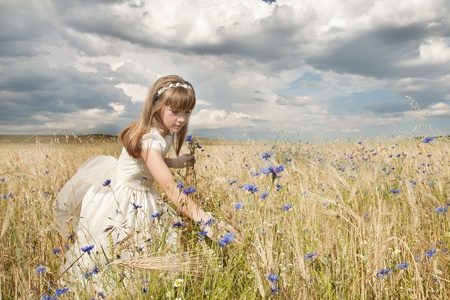 girl wearing first communion dress among the flowers and spikes Stock Photo - 10082262