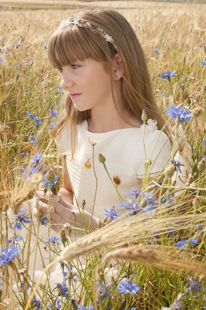 girl wearing first communion dress among the flowers and spikes Stock Photo - 10082268