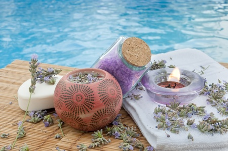 spa background with lavender herbs  photo