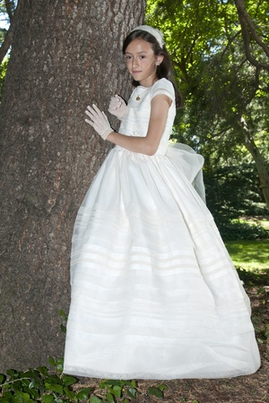girl white dress the day of their first communion Stock Photo - 10976152
