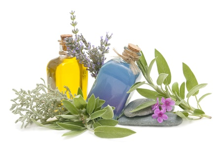 spa still life: spa still life with perfumes and aromatic herbs  Stock Photo