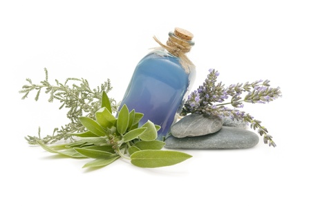 alternative living: spa still life with perfumes and aromatic herbs  Stock Photo