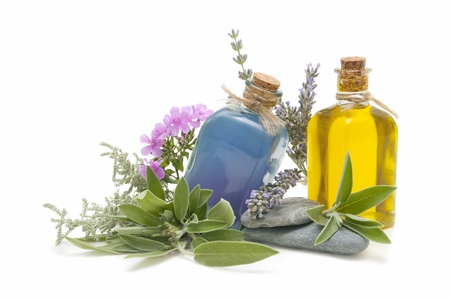 spa still life with perfumes and aromatic herbs Standard-Bild
