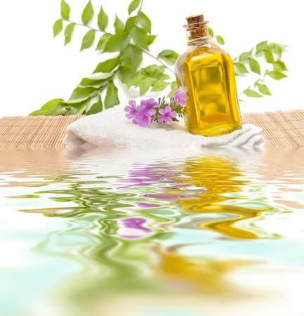 essences: spa treatment with natural herbs and essences  Stock Photo