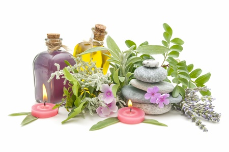 spa still life with perfumes and aromatic herbs
