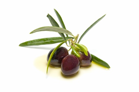 An olive branch with three olives on white background Stock Photo - 10976157
