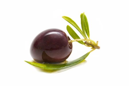 macro of a fresh olives bathed in olive oil on white background Stock Photo - 10976155