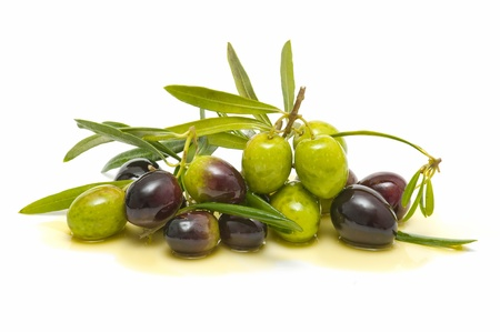 olive leaves: variety of fresh olives with olive oil on white background