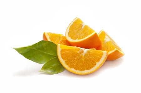 naranjas: de naranja ecol�gica en el fondo blanco Foto de archivo