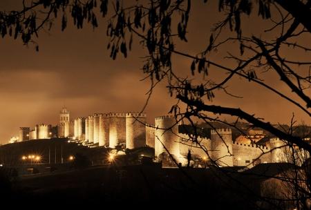 avila: urban landscape of the wall at night avila