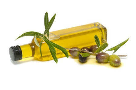 olive oil bottle: olive oil and fresh olives on white background Stock Photo