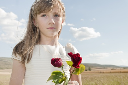 vormsel: communie meisje Stockfoto