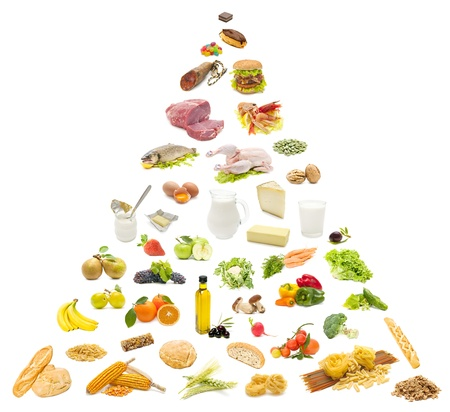 piramide alimenticia: pir�mide de alimentos en el fondo blanco