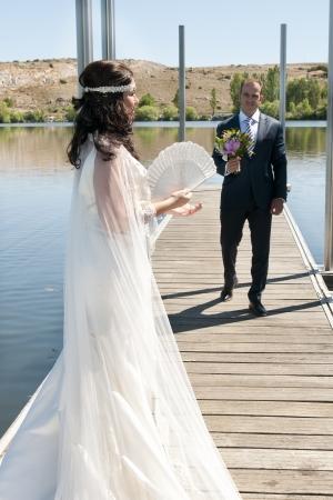 catholic wedding: Beautiful bride and loving groom on their wedding day Stock Photo
