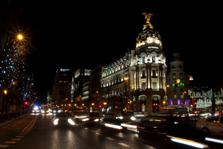 Gran Via street in Madrid at night