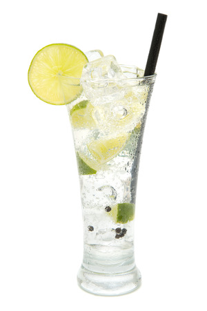 refreshing gin and tonic on white background photo