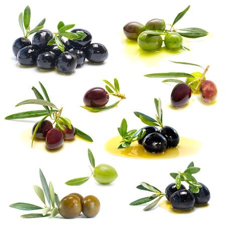 fresh olives on white background photo