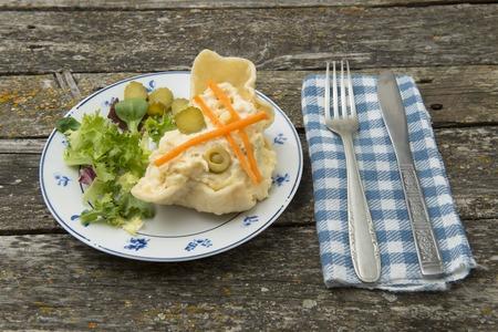 russian salad: Russian salad, freshly cooked