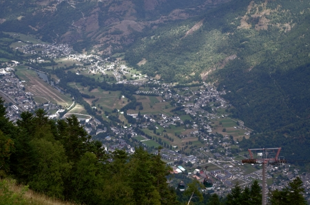 mountain village seen from the air photo
