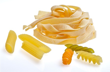 varied pasta  isolated on a white background photo