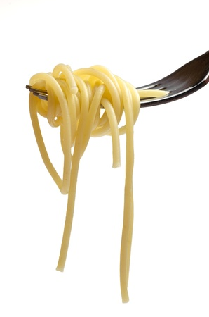 spaguetti and fork  isolated on a white background