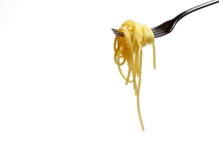 spaguetti and fork 1  isolated on a white background Standard-Bild