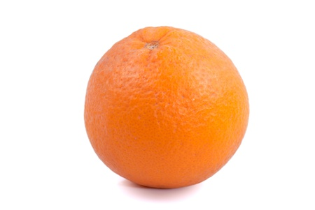 Valencia oranges on white background
