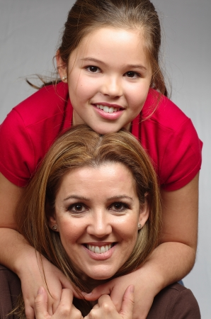 picture of mother and daughter smiling Stock Photo