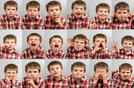 enfants qui rient: �tudier session avec l'enfant aux mille visages Banque d'images