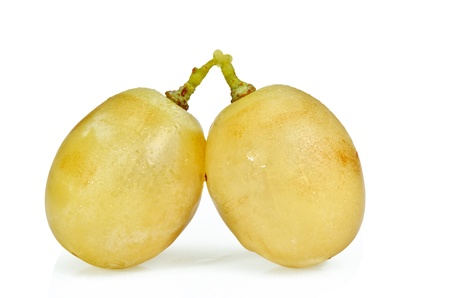 two white grapes with love on white background Stock Photo