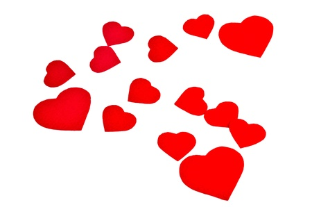 picture of red hearts on white background photo