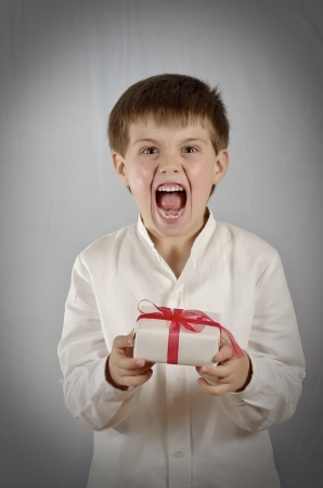 boy giving a gift on Valentines day Stock Photo