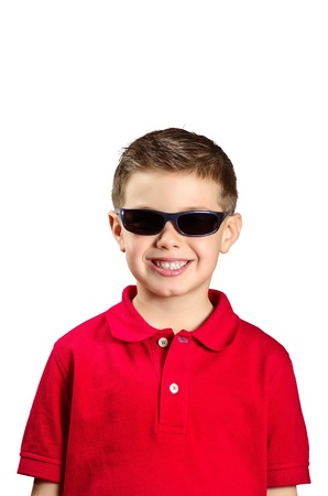 portrait of a boy with sunglasses and red sweater