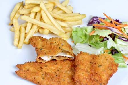 photograph of breaded meat with fries and salad photo