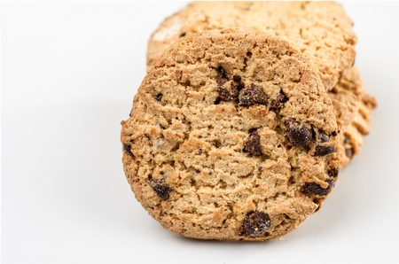 cikolatali: Macro photography cookies biscuits on white background