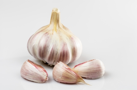 Natural Photography of garlic on white background Stock Photo