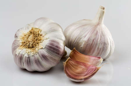 Natural Photography of garlic on white background photo