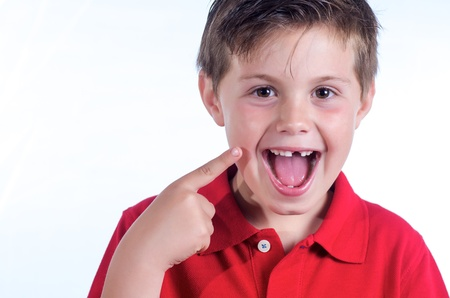 photographic portrait of a child who has lost a tooth Stock Photo