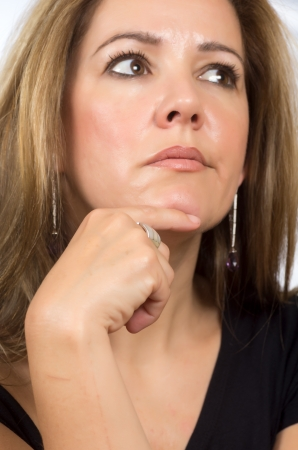portrait of a real woman with serene postures Stock Photo