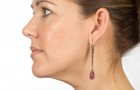 real woman staring over white background